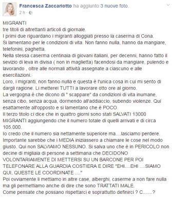 Post Zaccariotto migranti